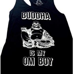 Buddha Is My Om Boy Boho Black Tank Top